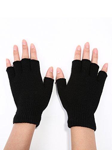 Satinior 2 Pair Black Half Finger Gloves Unisex Winter Stretchy Knit Fingerless Gloves, Common Size
