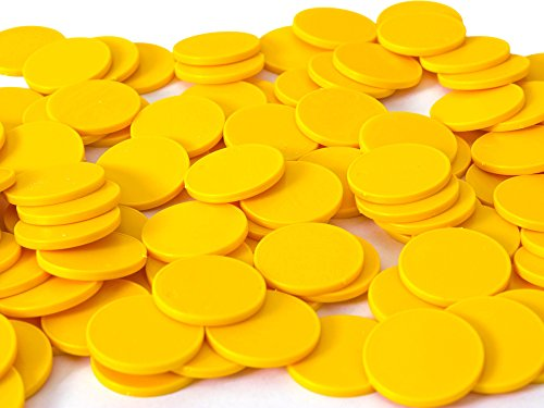 Einkaufswagenchips Einkaufschips viele Farben, einsetzbar als Spielgeld oder Spielmünzen, Farbe:gelb, Größe:100 Stück
