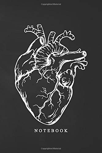 """Notebook: Black Anatomical Heart Pocket Notebook - Lined (4"""" x 6"""") (Small soft cover compact / mini"""