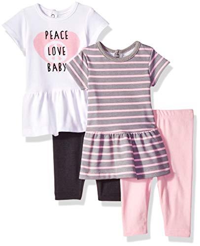 Hanes Ultimate Baby Flexy Set-2 Short Sleeve Dresses with 2 Leggings, Pink/Grey Stripe, 18-24 Months