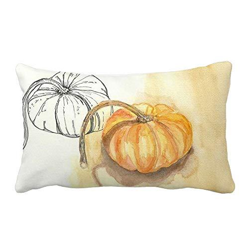 Snowfoller White Rectangular Lumbar Pillow Covers 12x20 Inches, Halloween Pumpkin Farmhouse Fall Pillow Cases Microfiber(H)