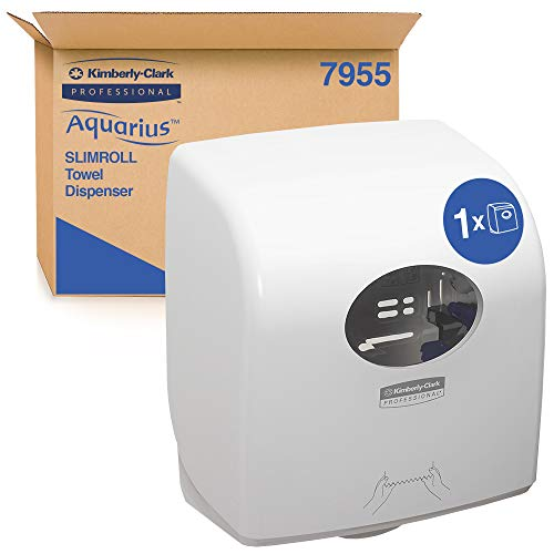 Aquarius 7955 Dispensador de Toallas de Manos en Rollo Slimroll, Montaje en Pared, Hojas Cortadas, Blanco, 07955010