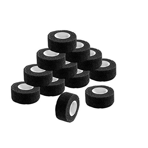 Self Adherent Wrap Tape Medical Cohesive Bandages Flexible Stretch Athletic Strong Elastic First Aid Tape for Sports Sprain Swelling and Soreness on Wrist and Ankle 12 Pack 1Inch X 5Yards(Black)