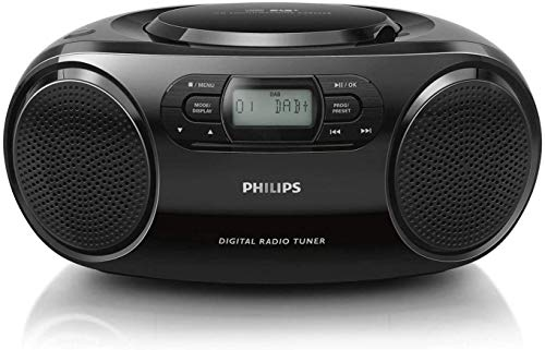 Philips CD-Player AZB500/12 DAB+ Radio (DAB+/UKW, Dynamic Bass Boost, CD-Wiedergabe, Shuffle-/Repeat-Funktion, 3,5-mm-Audioeingang) Schwarz (2020/2021 Modell)