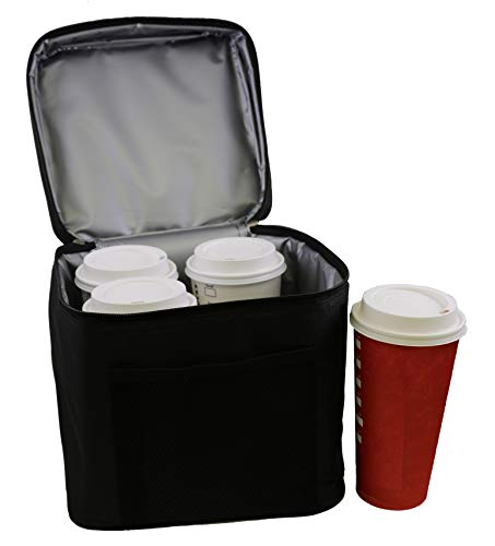 BevBag Insulated Beverage Carrier Extra Tall. (Black). Model #4R Cubed, With Addition of Outer Pouch. Great for Uber Eats, DoorDash, GrubHub. BevTray Sold Separately. Cups not Included.