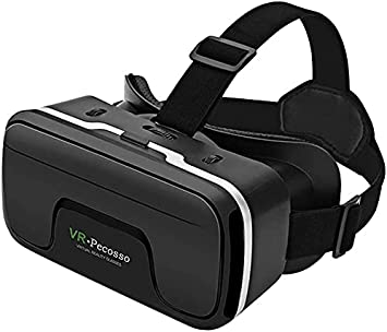 """VR Headset, Pecosso Virtual Reality Headset, 3D VR Glasses for Movies & Video Games - Virtual Reality Glasses VR Goggles Compatible with iOS, Android and Other Phones Within 4.7""""-6.53"""""""