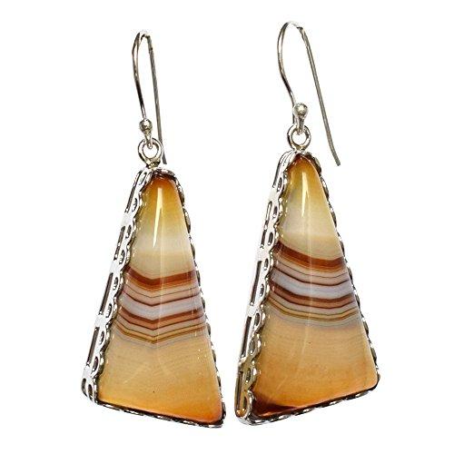Ohrringe aus 925er Sterlingsilber, wunderschöner brauner Achat, baumelnde Ohrringe für Mädchen FSJ-1242