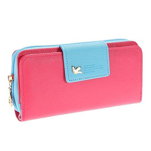 Auger Multi-Card Position Zwei Falten Lange Reißverschluss Geldbörse Lange Reißverschluss-Mappen-Handhandtasche der Frauen Rot