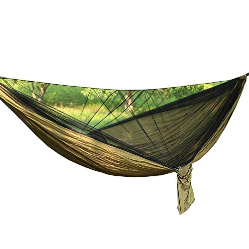Anti-mosquitooutdoor double hammock (290 x 140cm), Portable Lightweight Quick-drying Parachute Nylon Hammock with Premium Carabiners,Double loop tree belt,Storage bag for Backpacking, Camping,Travel