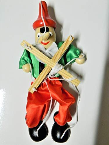 Marioneta articulada de madera pinocchio 40 cm para muñeca con hilos y un balancín (bascula)