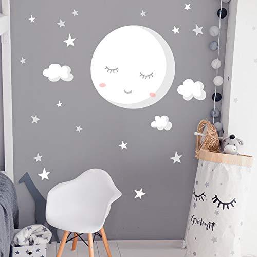 Vinilos infantiles para bebé - Luna llena con estrellas. Luna blanca -...