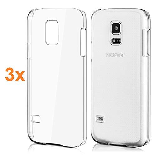 REY Pack 3X Cover in Gel TPU Trasparente per Samsung Galaxy S5 Mini, Ultra Sottile 0,33 mm, Morbido Flessibile, Custodia Silicone