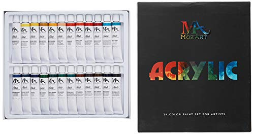 MozArt Supplies Acrylic Paint Set - 24 Paint Colors 12 Milliliter Tubes - Artist Grade Kit for Professionals, Beginners, and Kids - Ideal for Canvas, Ceramics, Crafts and Acrylic Pouring
