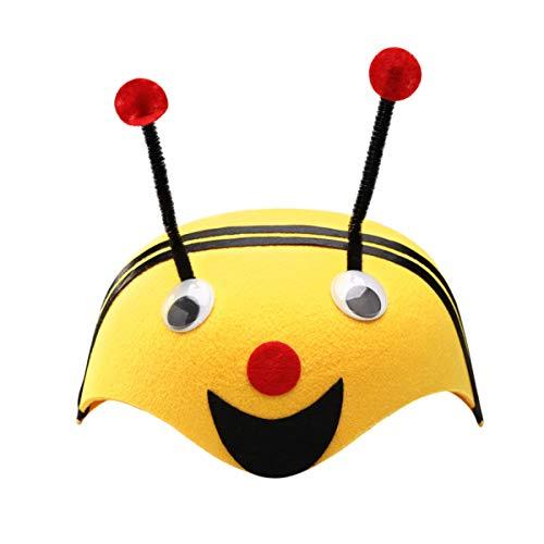 Amosfun Gorro de Animal No Tejido Gorro de Niño Sombreros de Dibujos Animados Divertido Novedad Sombrero Accesorios de Foto Accesorios Disfraz para Cumpleaños Carnaval Favores de Fiesta (Abeja)