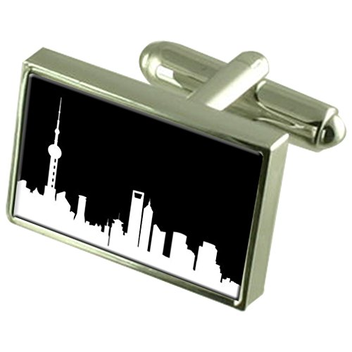 Select Gifts Skyline Shanghai Gemelos Crystal Clip de Corbata Bar Box Set Grabado