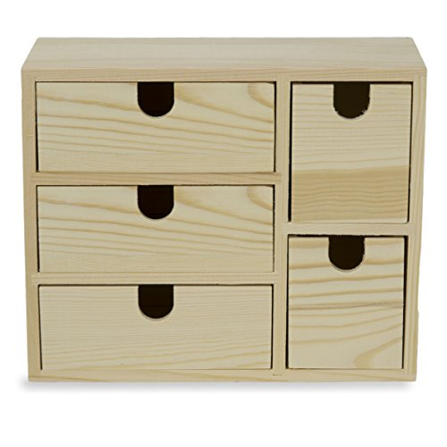 Small Multi Purpose Desktop Organizer Caddy with 5 Drawers Storage Cabinet Sewing Box and DIY Craft Project Solution to Your Everyday Needs Unfinished Wood
