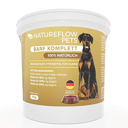 Natureflow Barf Zusatz Hund - 1kg Natürliches Barf Pulver Made in Germany als Hochwertige Rundumversorgung - Liefert wertvolle Mineralstoffe für Hunde - Fördert Vitalität beim Barfen für Hunde