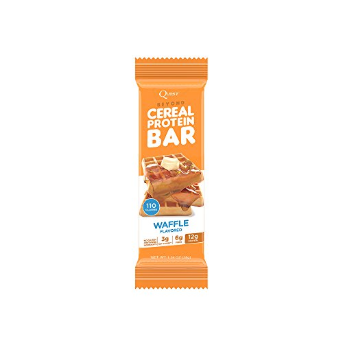 Quest Nutrition Beyond Cereal Protein Bar, Waffle Flavor, 12g Protein, 3g Net Carbs, 110 Cals, 1.34oz Bar, 15 Count, Breakfast Bars, Low Carbs Bars, Gluten Free, Soy Free