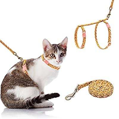 SCIROKKO Cat Harness with Leash Set - Cute Fabric with Sunflower Pattern - Escape Proof and Adjustable for Walking - Pink