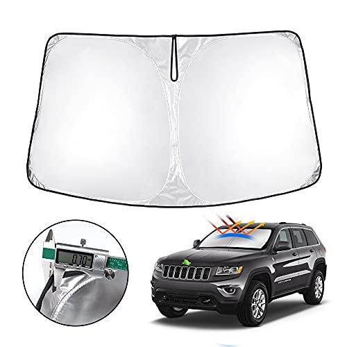 T TGBROS Windshield Sunshade for Jeep Grand Cherokee 2011-2020 Window Sun Shade Foldable Sun Shield Upgrade Reflective Polyester Cover Block Heat and Sun
