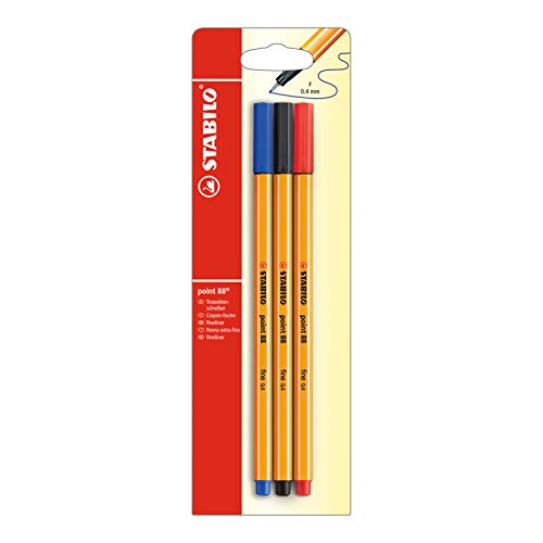Fineliner - STABILO point 88 - Pack da 3 - Nero/Blu/Rosso
