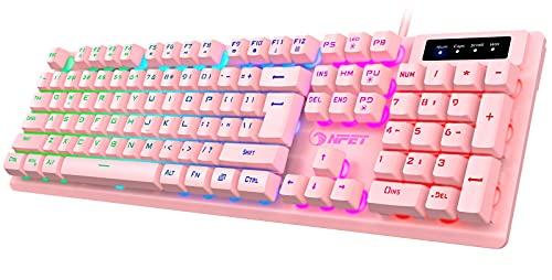 NPET K10 Gaming Keyboard USB Wired Floating Keyboard, Quiet Ergonomic Water-Resistant Mechanical Feeling Keyboard, Ultra-Slim Rainbow LED Backlit Keyboard for Desktop, Computer, PC, Pink