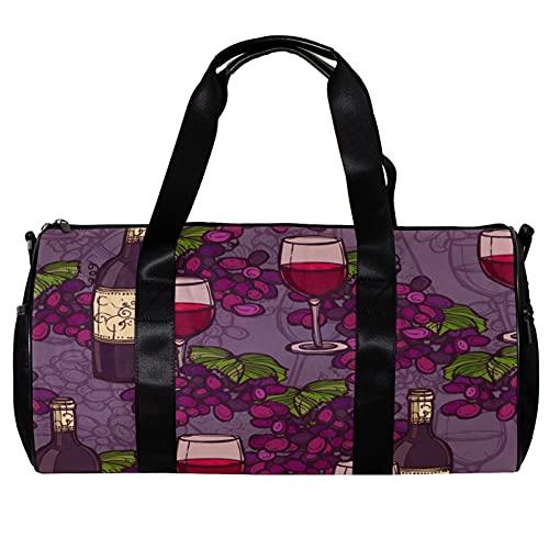 Bolsa de deporte redonda con correa de hombro desmontable con patrón de vino de uva elegante púrpura bolso de entrenamiento para mujeres y hombres