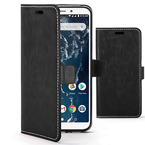 Forefront Cases Funda De Teléfono Premium para Xiaomi Mi A2 | Fabricado y Cosido A Mano | Billetera y Diseño Multifuncional | Protección Doble contra Golpes y Caídas | Negro