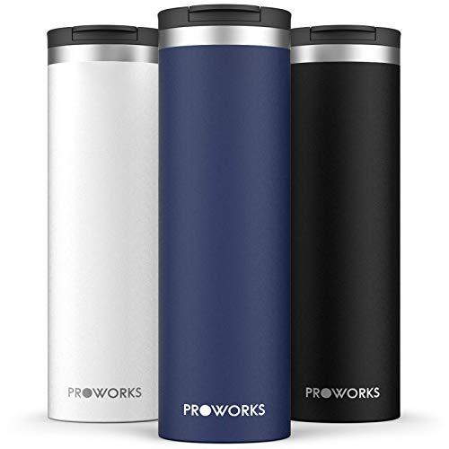 Proworks Taza de Viaje, 500 ml de Acero Inoxidable Hermética y Libre de BPA para Bebidas Calientes y Frías - Taza de Café Ideal – Taza de Café Reutilizable, Termo Aislado al Vacío – Azul Media