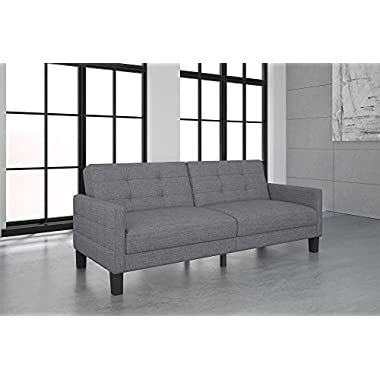 Novogratz Prescott Futon Sofa Bed in Rich Linen Upholstery, Modern Style with Track Arms, Gray