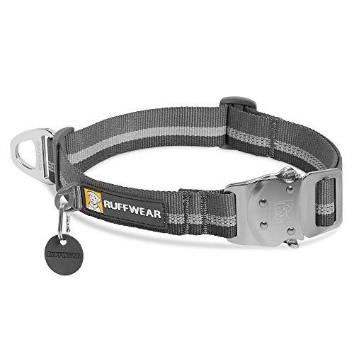 Ruffwear Top Rope Hundehalsband, Reflektierendes Halsband mit Metallschnalle für den Täglichen Gebrauch, Granitgrau, 36–51 cm