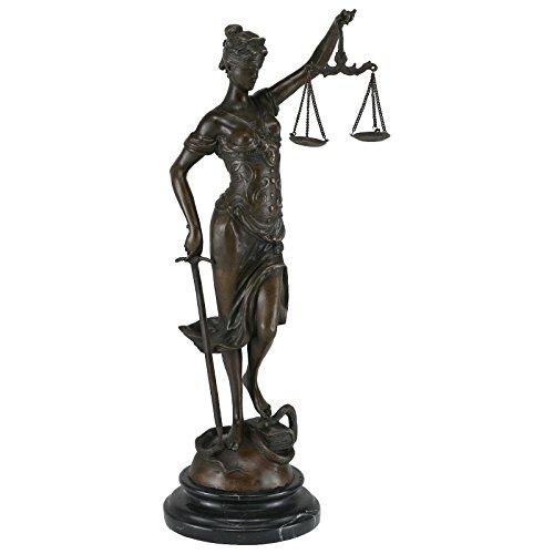 Justitia bronzen weegschaal zwaard slang recht bronzen figuur advocaat rechter 41cm