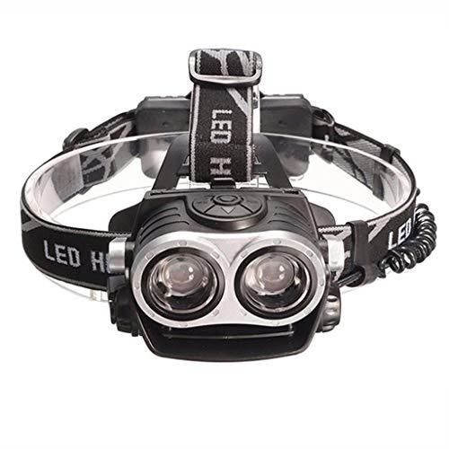 LED-Scheinwerfer, T6-doppelkopf Starke Außenleuchten Wasserdichtes Bergsteigen, Angeln, Jagen, Camping, Laufende Katzenaugen-doppelscheinwerfer T6,Black