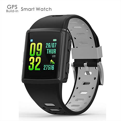 ODFIT GPS-Fitness-Tracker, wasserdichte IP68-Sport-Smartwatch mit Herzfrequenz-Überwachungs-Schrittzählerschlaf-Tracking-Funktion, 1,3-Zoll-IPS-Touchscreen
