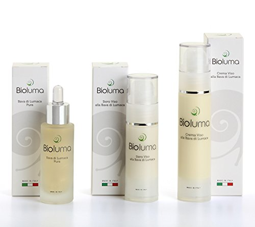 Bioluma Bava di Lumaca Crema Viso Antiage 50ml con Acido Ialuronico Collagene Vitamina E Azione Idratante Nutriente Uniformante Equilibrante Coadiuvante Trattamento Rughe Collo Decolletè Made in Italy