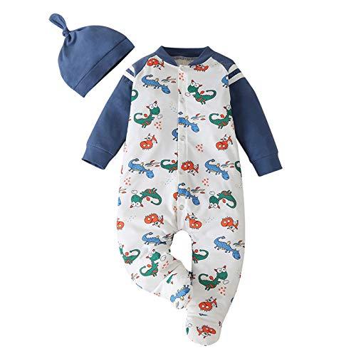 SHIPIN Neugeborenes Overall Baby Jungen mädchen Kinder Winter Herbst Lange Ärmel Karikatur Dinosaurier Overall Spielanzug Hut Deckel Outfits