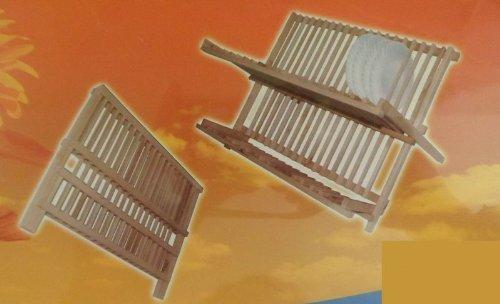 Relaxdays Abtropfgestell CROSS HBT 24,5 x 42 x 33 cm Abtropfgitter Bambus klappbar Geschirrabtropfer für Teller und Tassen als Geschirr Abtropfkorb und Holz Geschirrkorb, natur