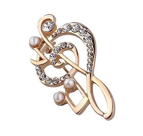 N / A Nigoz - Broches populares para notas musicales, accesorios de perlas y diamantes de imitación, decoración de ropa, regalos para mujeres, calidad adorable y práctico y rentable
