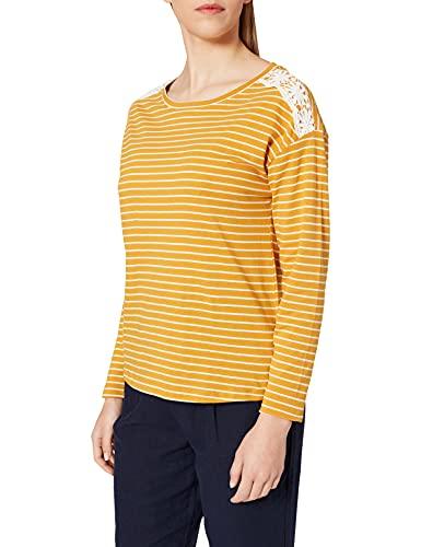 Springfield Camiseta Rayas Hombros Crochet, Amarillo/Off White, XL para Mujer