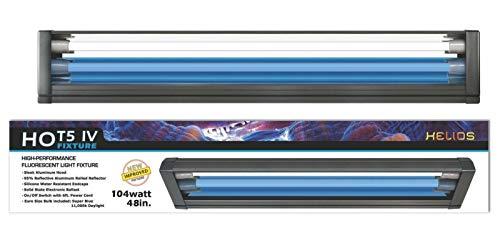 Helios HO T5 Dual Aquarium Light Fixture & 2X HO T5 Lamps 11000K Day & Blue Marine Fish (48')