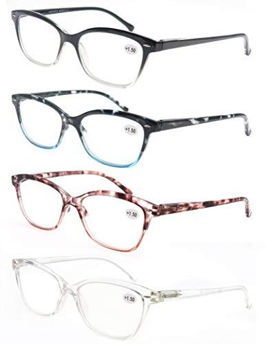 MODFANS (4 Pack) Lesebrille 3.5 Katzenauge Damen,Gute Brillen,Hochwertig,Mode,Komfortabel,Super Lesehilfe,fur Frauen