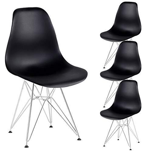 N A MUEBLES HOME - Juego de 4 sillas de comedor retro de mediados de siglo con patas de metal para comedor, dormitorio, sala de estar, color negro