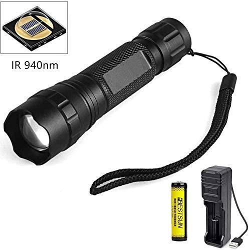 IR-Taschenlampe, 940 nm IR-Beleuchtung Infrarotlicht Zoombare Nachtsicht-Taschenlampe IR-LED-Taschenlampe für die Jagd auf Coyote Hog Predator Thermal Pig Fox Rat