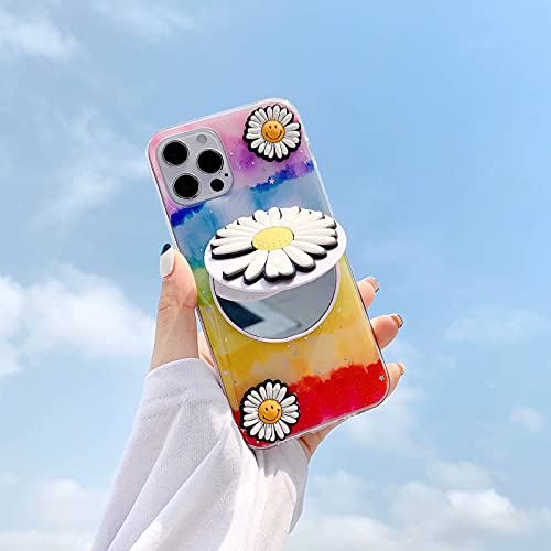 Miagon Glitter Rainbow Mirror Cover for Samsung Galaxy S21 Ultra,Soft Slim Silicone Case Bling Star Flower Bumper with Stand Function,Red Blue