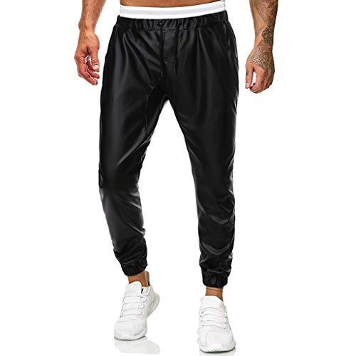 Xmiral Hosen Herren Einfarbig Kunstleder Hose Tunnelzug Elastische Taille Jogginghose mit Mehreren Taschen(Schwarz 2,L)