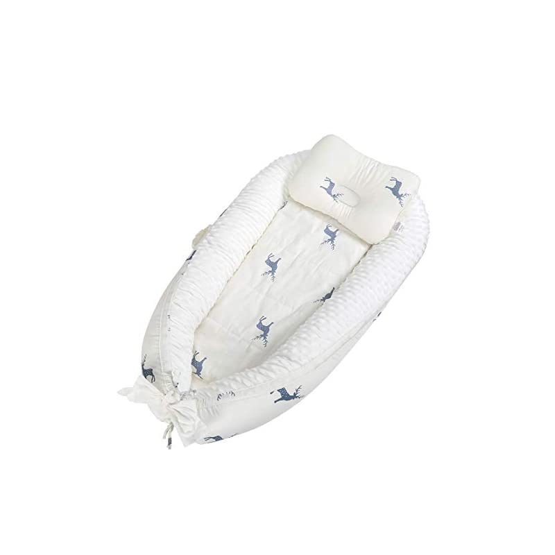 crib bedding and baby bedding baby nest baby co-sleep lounger - 0-12 months infant adjustable crib soft cotton newborn bassinet with pillow portable breathable snuggle bed for travel(white)