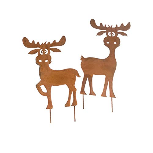 Pureday Weihnachtsdeko - Gartenstecker Elche Jack & Daniel 2er Set - Metall - Rost
