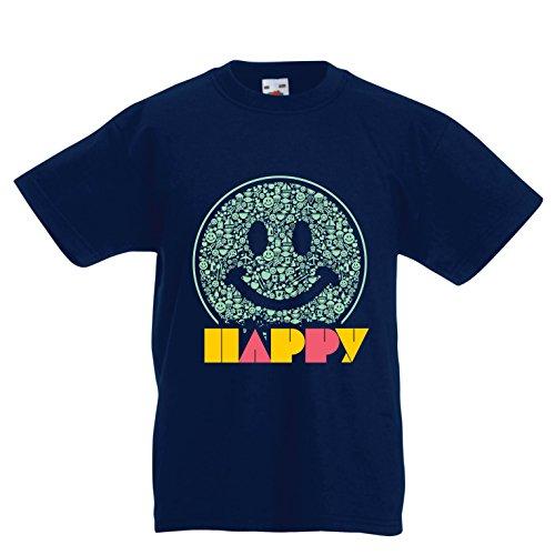 lepni.me Camiseta para Niños Emoción Sonriente Inspiradora Emoción Feliz Emoticón (9-11 Years Azul Oscuro Multicolor)