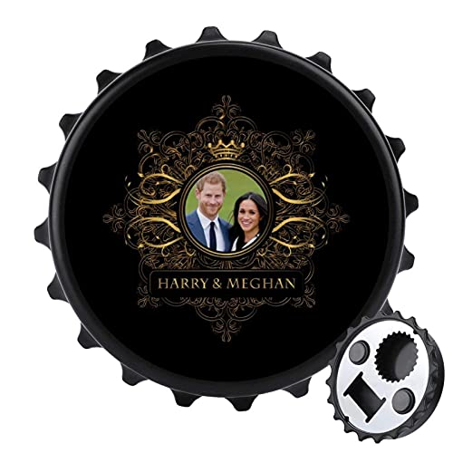Golden Star Frame Harry and Meghan Royal - Abrebotellas de boda con...