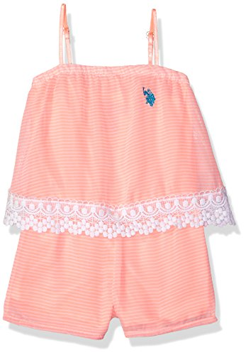 U.S. Polo Assn. Girls' Toddler, Stripes lace Romper neon Light Coral, 3T